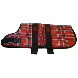 Animate Dog Coat Waterproof Red Tartan/ lilac