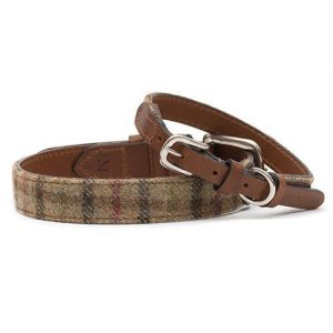 BALMORAL TWEED/TAN LEATHER DOG COLLAR