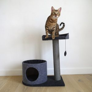 Charcoal Felt Cat house and perch