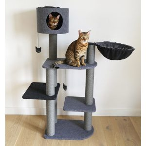 Charcoal Felt Cat triple tower