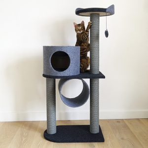 Charcoal Felt Cat double tower